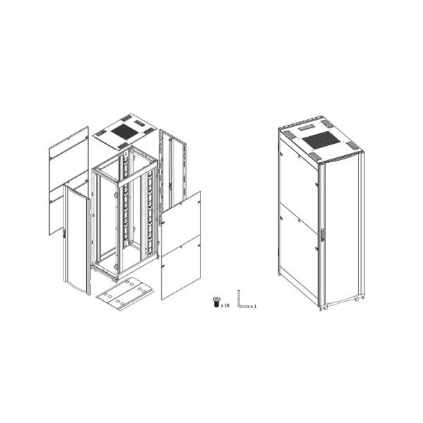 42u server cabinet 01 mode flat pack quick assembly