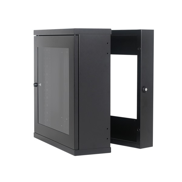 Davislegend Swing Out Wall Cabinet 12u Slim Glass Door 8in Front Hinge With 4in Back Frame